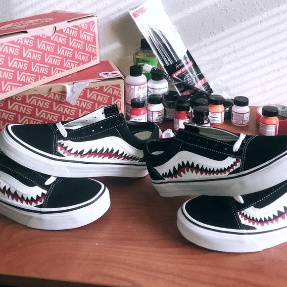 Vans Shoes | Custom Shark Mouth Vans By
